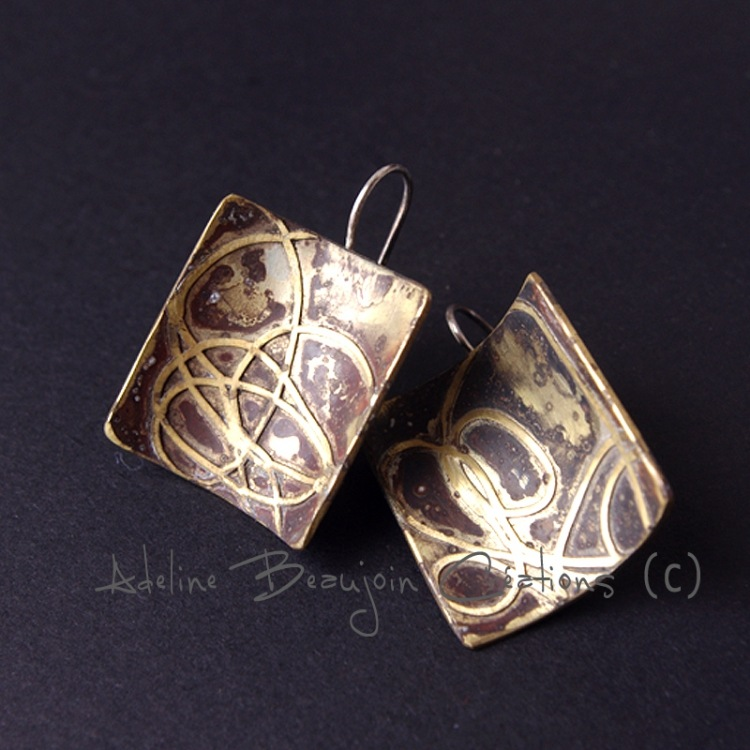 boucles oreilles laiton bijou contemporain