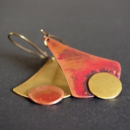 boucles d'oreilles cuivre laiton createur unique artisanal
